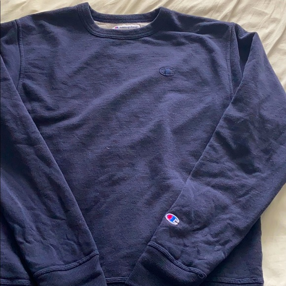 champion crewneck hoodie in navy blue